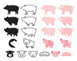 Pig Character Set, Line, Shape, Silhouette, Cartoon, Character