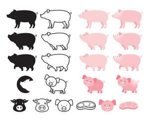 Pig Character Set, Line, Shape, Silhouette, Cartoon, Character © muchmania