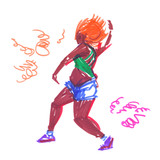 Modern female dancer with orange hair and bright clothes striking a pose. Illustration painted in highlighter felt tip pen on clean white background