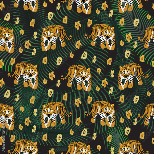Tiger and palm leaves jungle dark pattern fashion spotted wild vector design. Seamless animal print with leopard skin texture for scarves, fabric and dress.