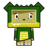 Adorably Cute Little Cartoon Block Crocodile Character