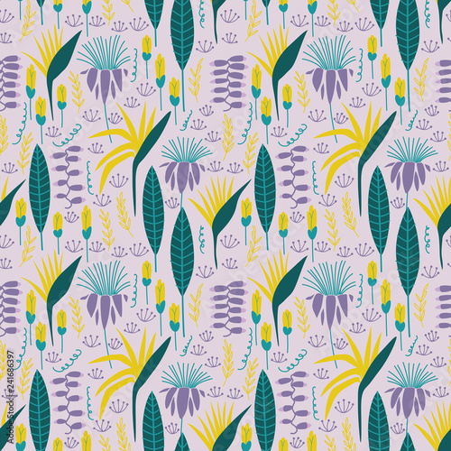 Abstract seamless pattern with tropical flowers and leaves. Vector template. - 241686397