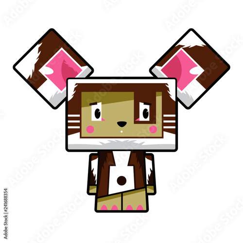 Cute Cartoon Block Dog Character