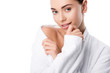 Leinwanddruck Bild - beautiful woman in bathrobe looking at camera isolated on white