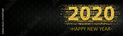 Long Black Banner Ornaments 2020 Happy New Year