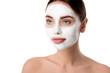 Leinwanddruck Bild - beautiful woman with facial skin care mask isolated on white