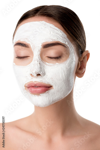 Leinwanddruck Bild woman with facial skin care mask and eyes closed isolated on white