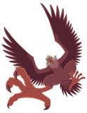 Illustration of ferocious cartoon harpy isolated on white background. - 241704301