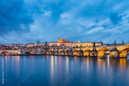 Castle and Charles Bridge in Prague, Czech Republic