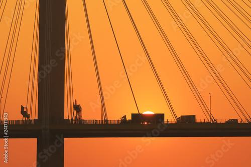 a sun set of Ting Kau Bridge hk