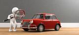3D Illustration weißes Männchen mit Lupe und Auto - 241714385