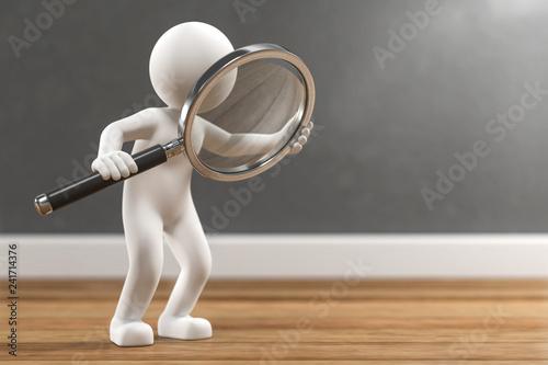 3D Illustration weißes Männchen mit Lupe auf Holzboden