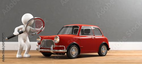 3D Illustration weißes Männchen mit Lupe und Auto