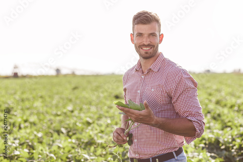 Portrait of young farmer standing in filed examining soybean corp.