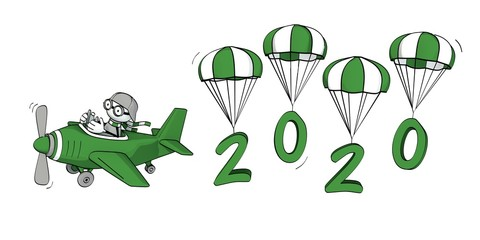 little sketchy man flying in a plane and the year 2020 on parachutes