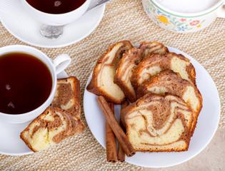 Sliced Cinnamon Swirl Bread on a Plate