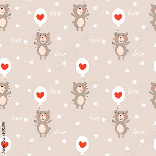 obraz lub plakat Cute bear and heart balloon seamless pattern.