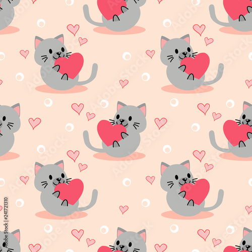 obraz lub plakat Cute kitten and pink heart seamless pattern.