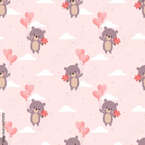 obraz lub plakat Cute bear and Valentine balloon seamless pattern.