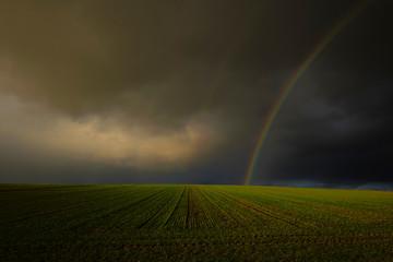 Regenbogen über einem  Feld im Winter, Kreis Hassberge, Unterfranken