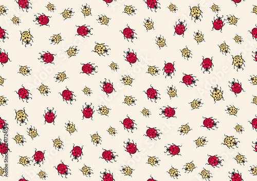 obraz PCV seamless pattern with ladybugs
