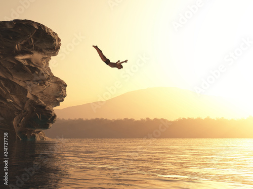 canvas print picture Athlete jumps into a lake
