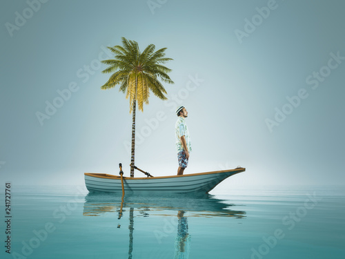 Leinwanddruck Bild Young man and a palm tree standing in a boat, in the middle of ocean