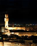 Florence Palazzo Vecchio by night, Tuscany, Italy