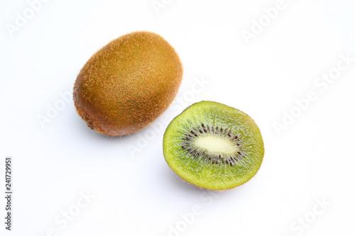 Half and whole kiwi fruits
