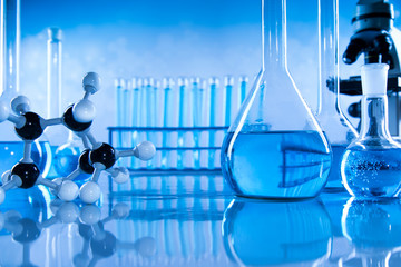 Scientific glassware for chemical experiment, Laboratory equipment