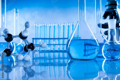obraz lub plakat Scientific glassware for chemical experiment, Laboratory equipment
