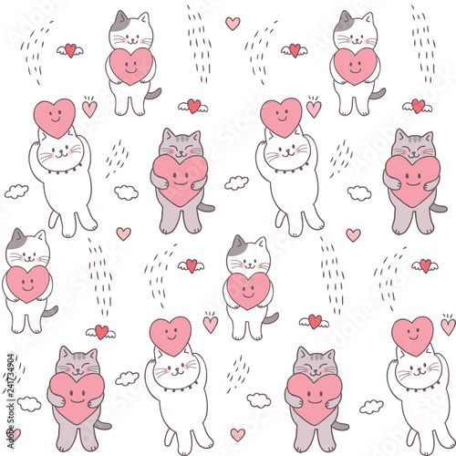fototapeta na ścianę Cartoon cute Valentines day cat and heart seamless pattern vector.