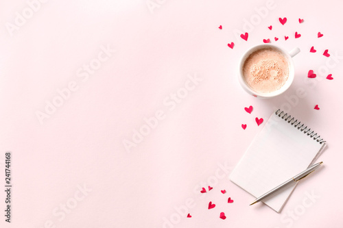 Coffee, note book, red hearts