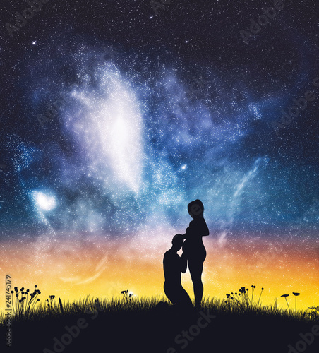 Man kissing pregnant woman's belly on starry sky.