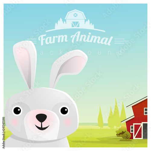 Farm animal and Rural landscape background with rabbit , vector , illustration - 241747598