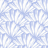 Vector seamless nautical pattern with hand drawn striped shells - 241749131