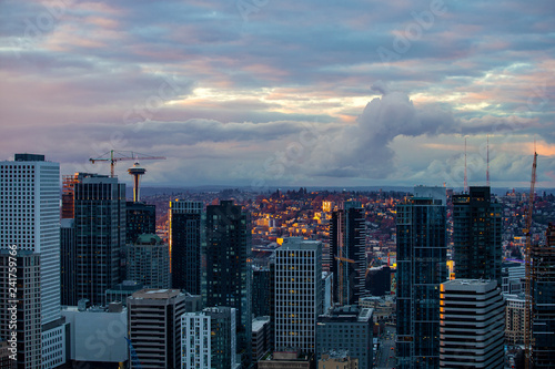 Sunset over downtown of Seattle, WA