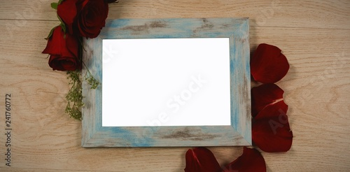 Photo frame and rose flower