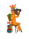 Horse sits on a chair. Through binoculars. Cute illustration.