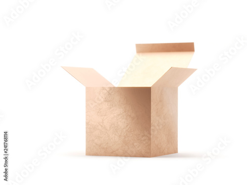 Open gift golden box cardboard mockup. Open carton cardboard box container package for delivery shipping. Present box isolated on white background. 3d Rendering.