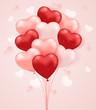 Set of heart shaped balloons.