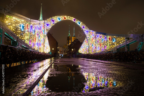 View of the cathedral at night in winter. Festive decorative lighting