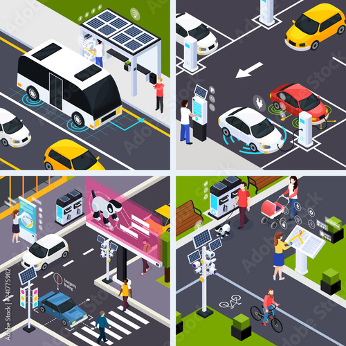 Smart City Concept Icons Set - 241775982