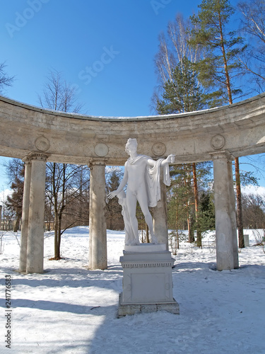 PAVLOVSK, RUSSIA - MARCH 27, 2013: A fragment of a colonnade of Apollo in winter day