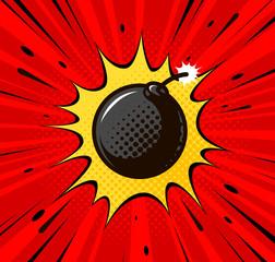 Detonation of bomb, cannonball. Burning wick, boom, explosion concept. Pop art retro comic style. Cartoon vector illustration