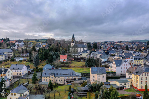aerial view of a small town in saxony, hartenstein - 241780982