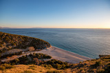 bay, beach and calcareous canyon of Gjipe at sunset, Vlore, Albania - 241783790