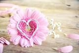 Glückwunschkarte - Gerbera mit Herz