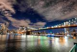 Skyline of Manhattan and Brooklyn bridge, night view - 241799769