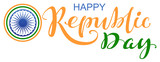 India Happy republic day lettering text for greeting card